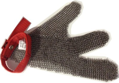 3 Finger Metal Mesh Glove with Textile Strap