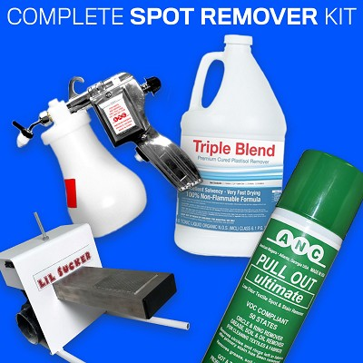 COMPLETE SPOT REMOVER KIT - 1 LIL SUCKER SPOT CLEANING STATION, 1 CAN OF PULL OUT ULTIMATE, 1 GALLON OF TRIPLE BLEND, 1 MYSTIC CLEANING GUN